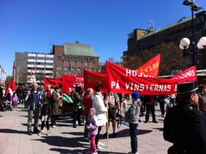 Demonstrationståg samlas på Fristadstorget i Eskilstuna