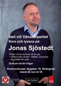 Affisch på Jonas Sjöstedt