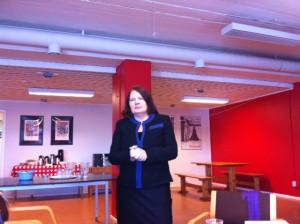 Partistyrelsens Lotta Jonsson Fornarve ledde utbildningen i Eskilstuna