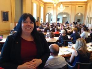 Maria Forsberg, ordförande i V och ersättare i kommunfullmäktige
