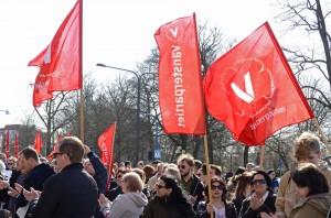 Många vänsterpartister deltog i manifestationen
